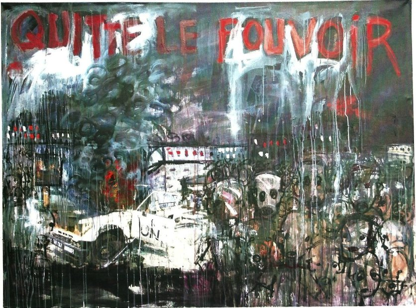 Aboudia, 'Quitte le Pouvoir', 2011, acrylic and mixed media on canvas