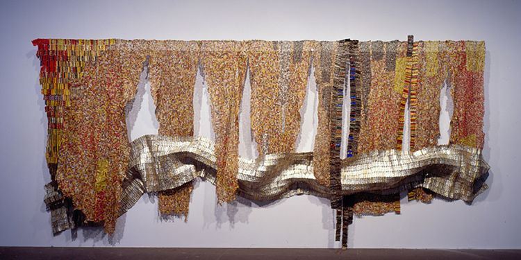 El Anatsui, Strips of Earth's Skin, 2008, found aluminum and copper wire