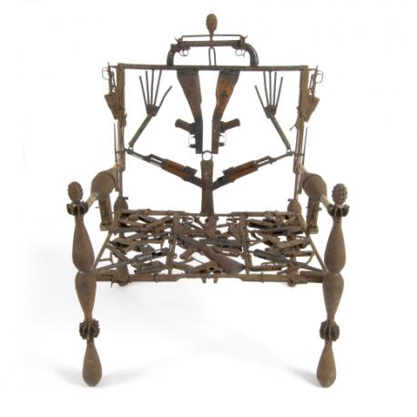 Goncalo Mabunda, Throne of an African King, 2004, metal and recycled weapons